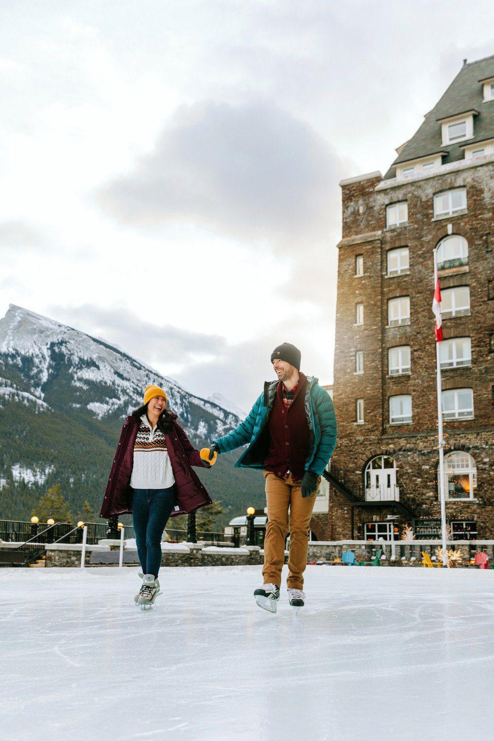 Skating at Banff Springs Hotel