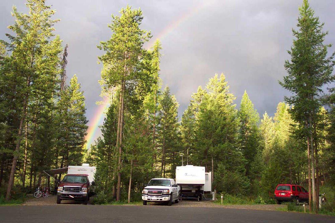 rainbow over campground