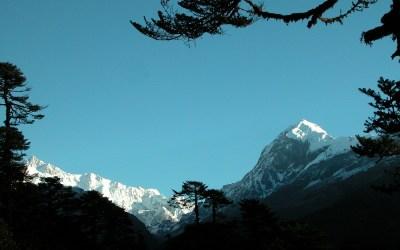 Uitzicht op de top van de Pandim (6691 mtr) bij Phethang, Dzongri Trek, Sikkim, India 2009