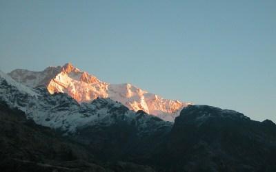 Ochtendzon op de Kanchenjunga, Dzongri Trek, Sikkim, India, 2009