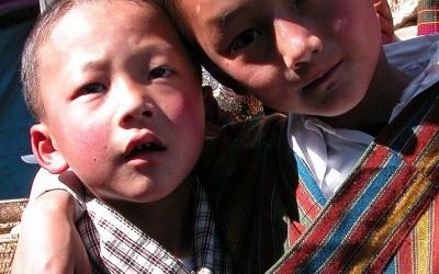 Bhutan, religieus festival bij een klooster in de buurt van Jakar