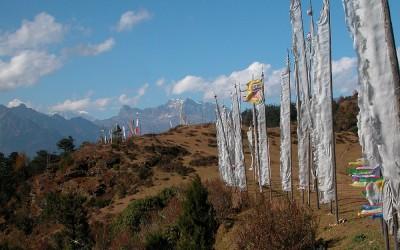 Bhutan, in nabijheid van Dzong tijdens de trekking tussen Paro en Thimpu