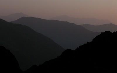 Zonsondergang in de Hoge Atlas, Marokko, 2006