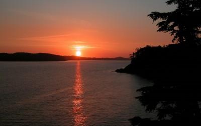 Zonsondergang bij Middle Beach, Vancouver Island, Canada, 2008