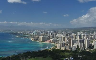 Uitzicht vanaf Diamond Head richting Waikiki, Oahu, Hawaii, 2011