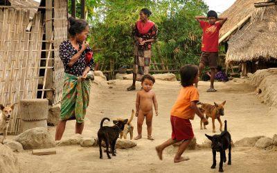 Traditioneel dorp in de buurt van Senaru, Lombok, Indonesië, 2012
