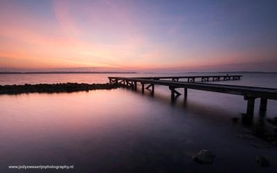 Zonsopkomst bij Veerse Meer, Vrouwenpolder, Nederland, 27-2-2016
