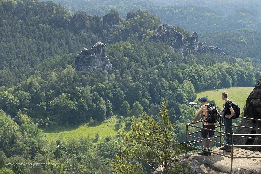 Uitzicht vanaf Ferdinandstein, Bastei, Sächsische Schweiz, Duitsland, 5-6-2017