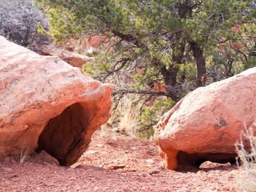 Hollowed out red rock boulders