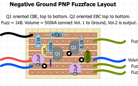 build your own fuzzface  with no annoying positive ground