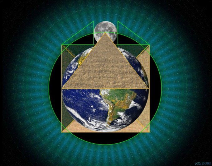 Great Pyramid earth and moon