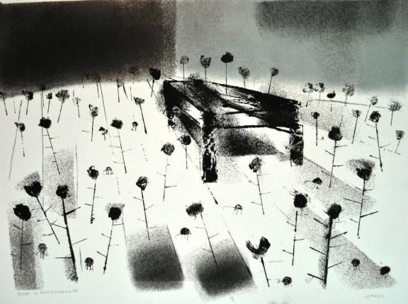 """Room in Remembrance, Monotype 15x21"""", 2010"""
