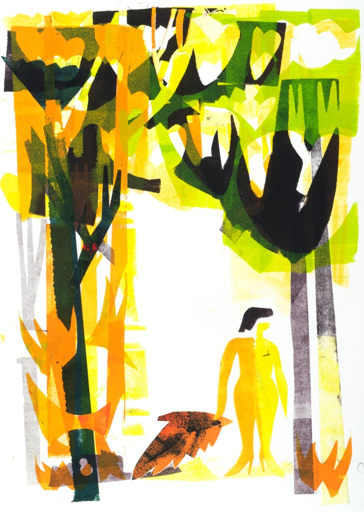 """Joe Higgins Monotypes """"Fallen Angel"""" 2013. The same mylar """"character is used in different """"roles"""" in many monotypes of this series."""