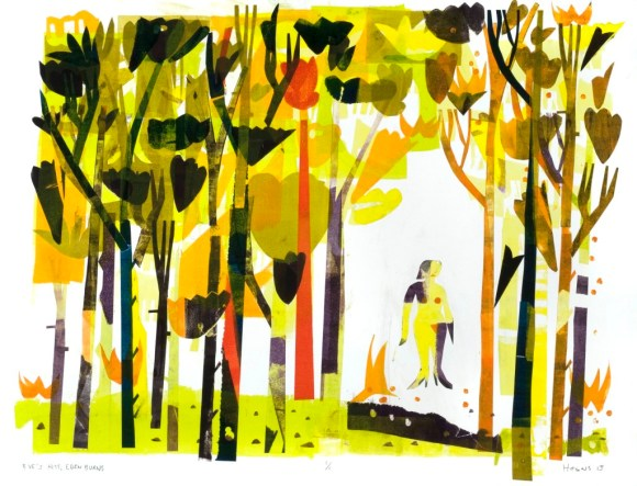 """Joe Higgins Monotypes """"Eve's Kiss; Eden Burns"""" 2013. Using color tonalities and repeated shapes to create visual complexity."""