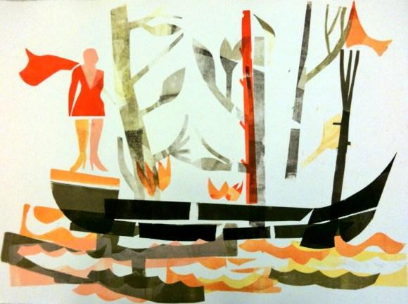 "Joe Higgins Monotypes ""Superheroine With Burning Boat"" Stage 1"