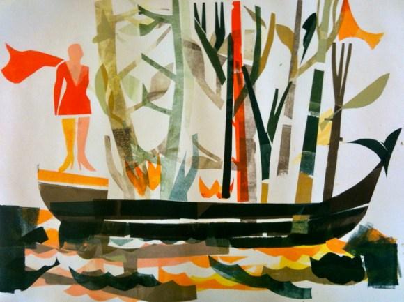 "Joe Higgins Monotypes ""Superheroine With Burning Boat"" Stage 2"