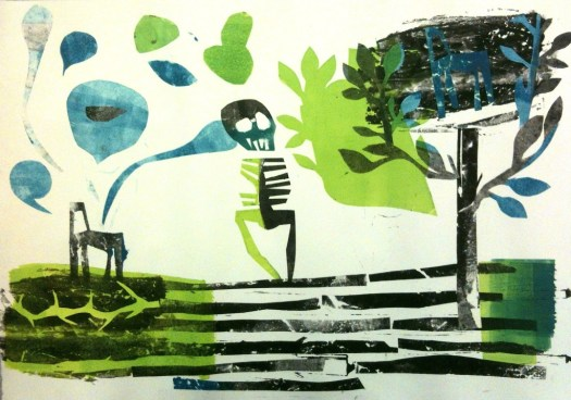 "Monotype, 15x21"", including ghost images and Mylar ""applique"" elements"