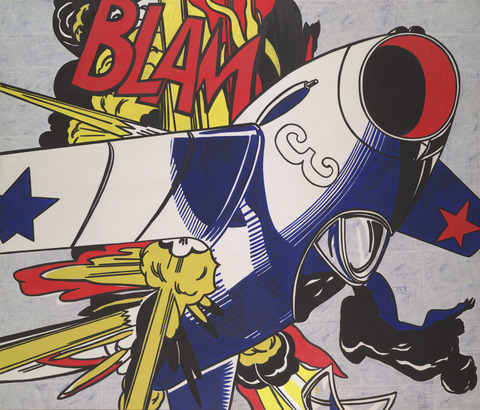 "Roy Lichtenstein's ""Blam"" which along with other Pop Art paintings by Rosenquist, Warhol, et al, introduced the idea of appropiation into modern art."