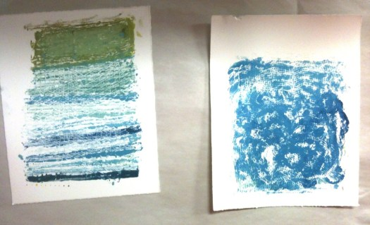Two monotypes by  a young girl who attended the last monotype workshop at the brand, spankin' new Rodolfo Gonzales branch in March. I apologize for the hurried snapshot, but this was one of the busier workshops, and the kids do like to get busy!