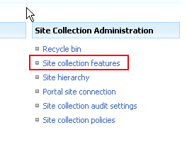 Site collection features