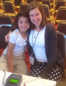 Esther Beeke and her volunteer helper, 8-year-old Hannah