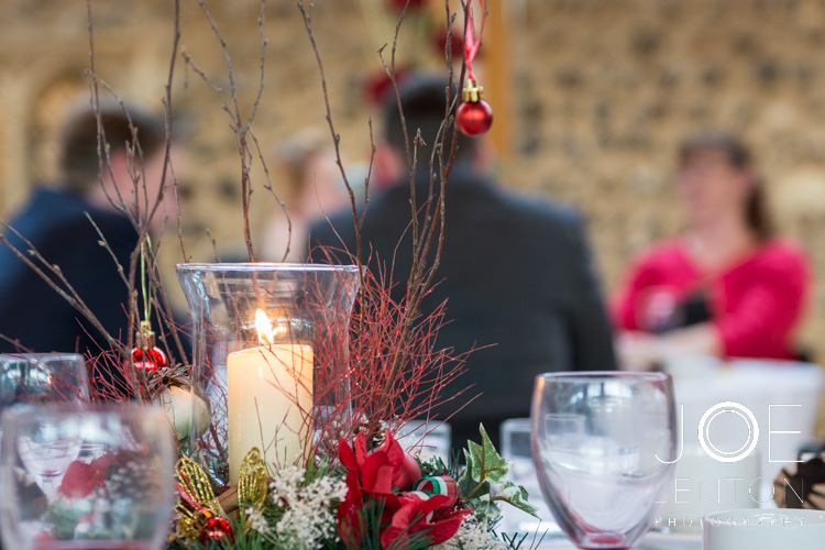 Thrive Christmas Party table decorations & candle