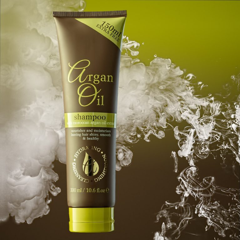 Argan Oil Shampoo image with billowing cloud special effect