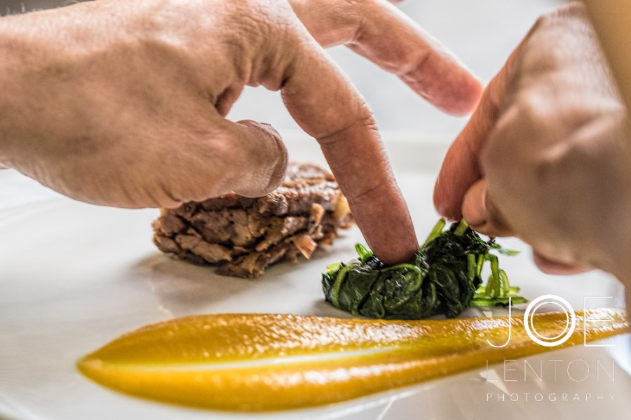Food Photo Story - Duo of Lamb - plating the spinach