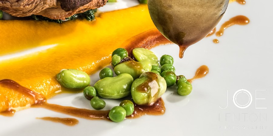 Food Photo Story - Duo of Lamb - adding sauce to beans and peas
