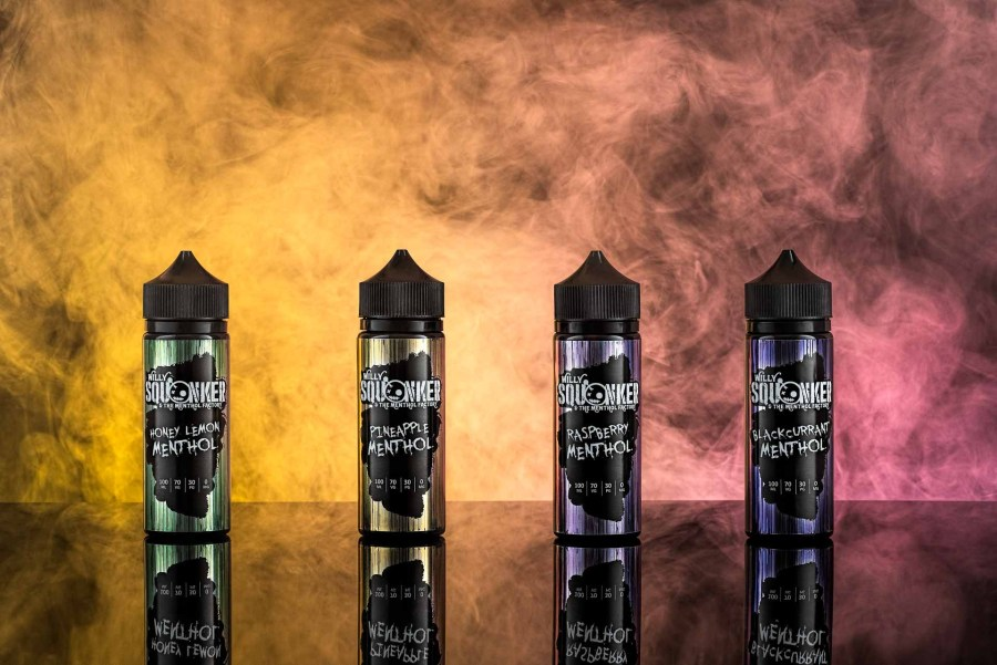 Advertising image for vape liquid with coloured smoke background
