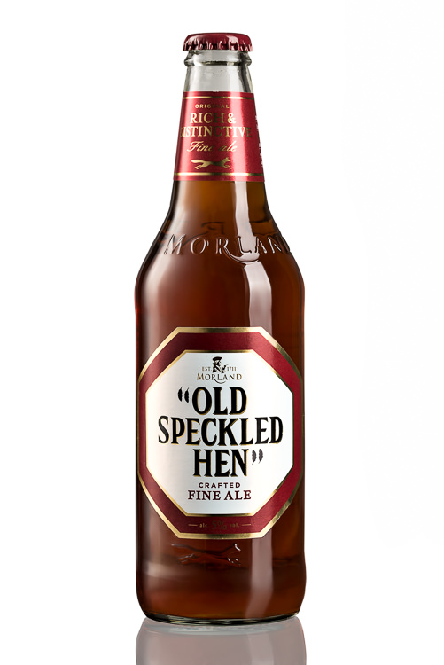 Beer Photography - Old Speckled Hen - white background product photography