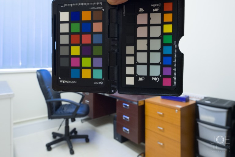 Color Checker Passport used in an office for interior photography