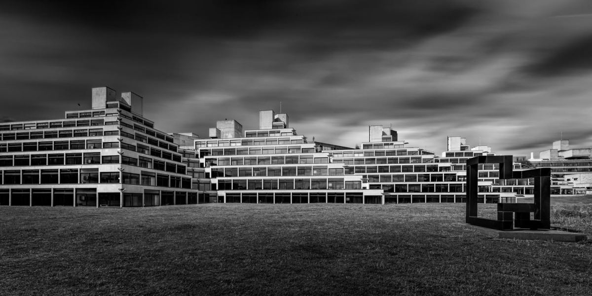 UEA Ziggurats monochrome long exposure