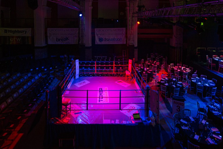 Banking Hall at OPEN in Norwich set up for corporate boxing