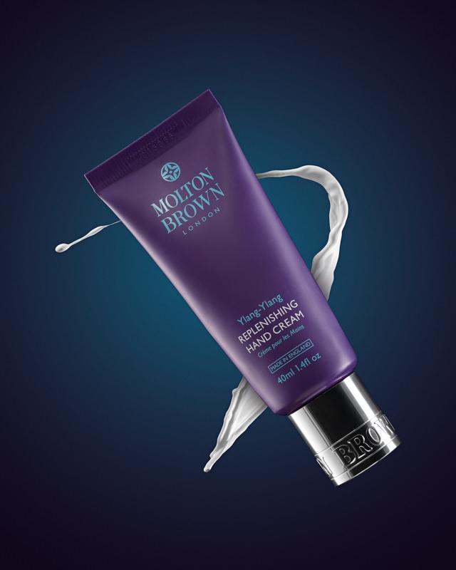 Molton Brown Hand Cream advertising image with splash