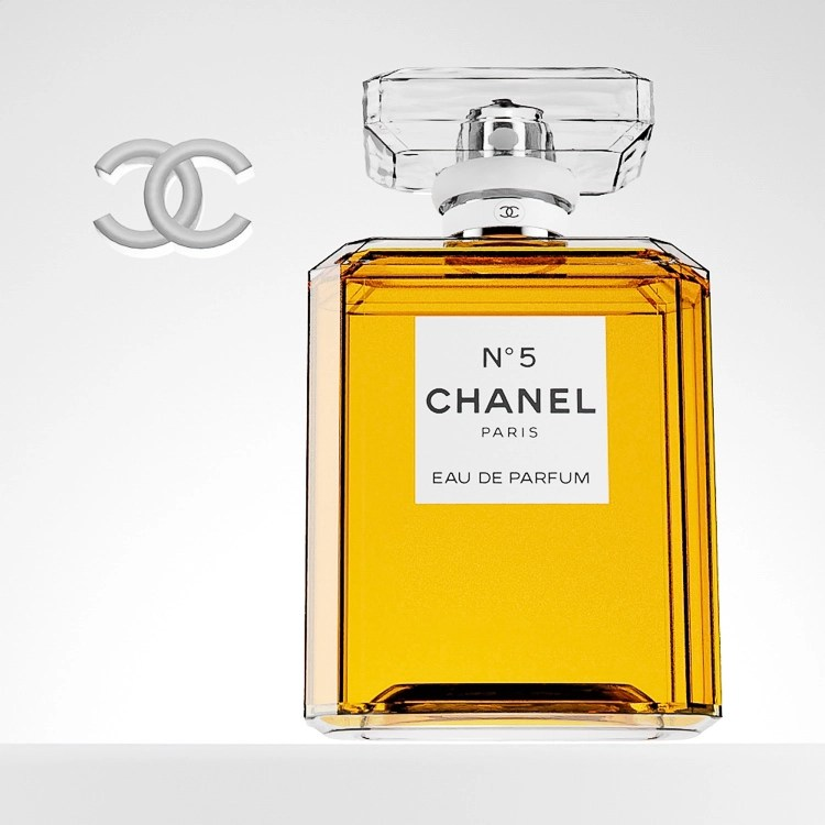 Chanel No 5 Perfume Bottle with 3d logo