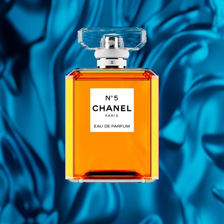 Chanel No 5 Perfume Bottle with blue silk CGI