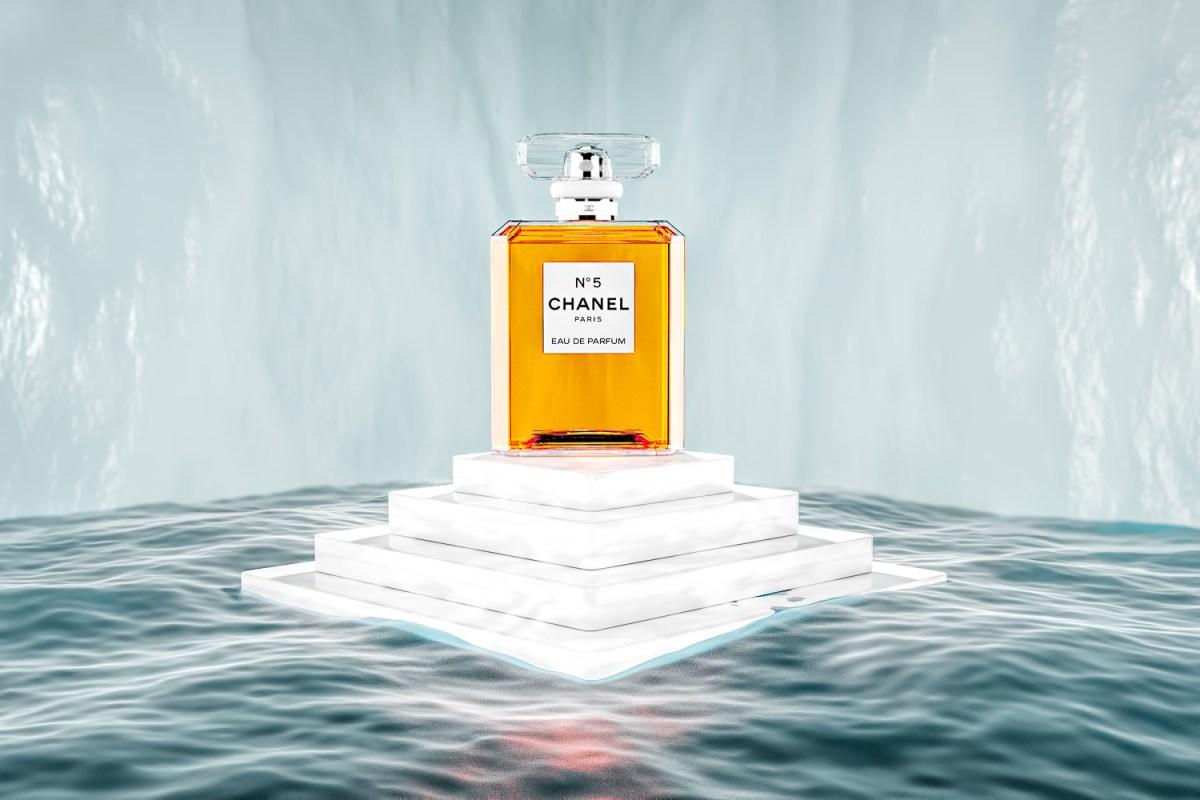 Chanel No 5 Perfume on marble Island - CGI advertising image