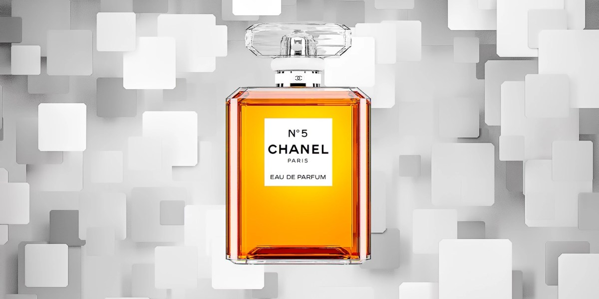 Chanel No 5 Perfume with background of blocks falling CGI