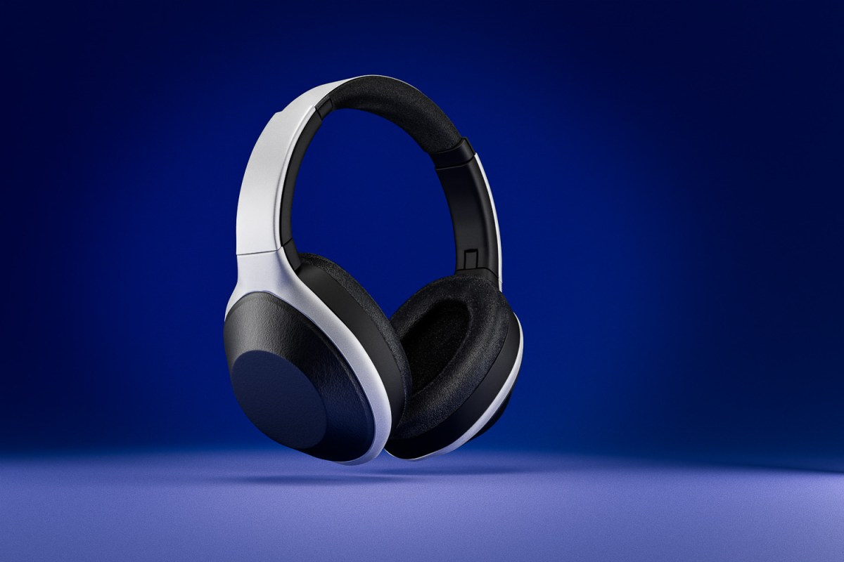 Headphones CGI on blue background