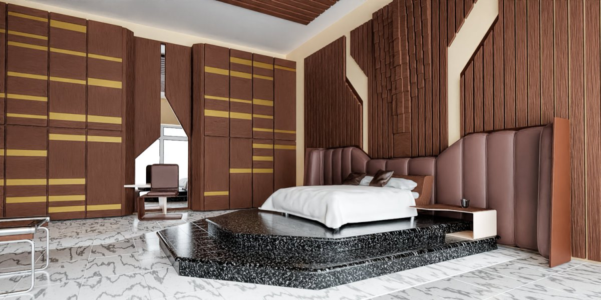 CGI daylight simulation of a hotel bedroom