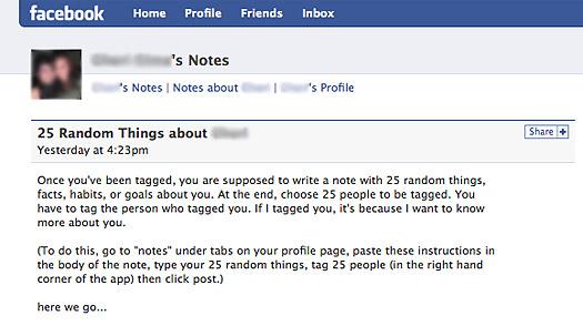 25 Random Things.... Facebook
