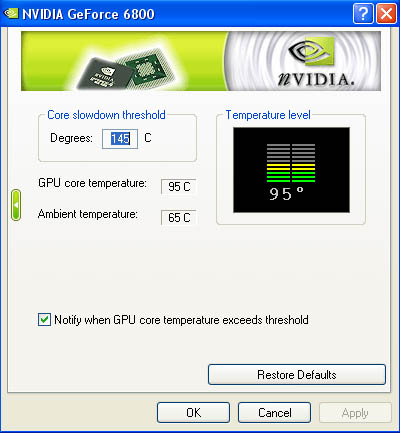 NVidia video card temperature monitor