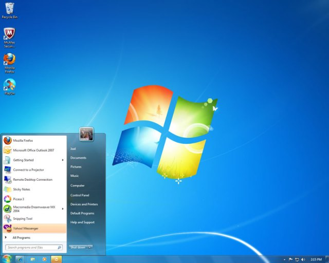 Screenshot of my new Windows 7 desktop