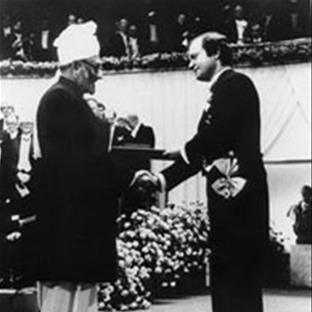 Dr. Abdus Salam accepting the 1979 Nobel Prize in Physics