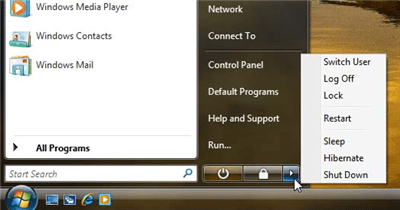 Image of the menu in Windows Vista for turning off the computer