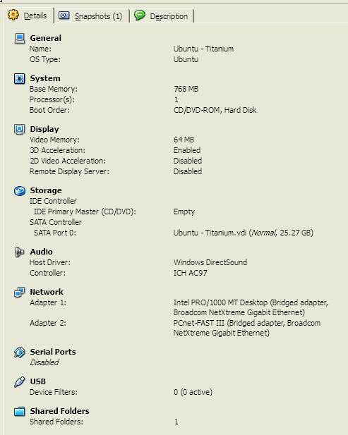 Titanium Kubuntu 10.04 Virtual Machine Settings