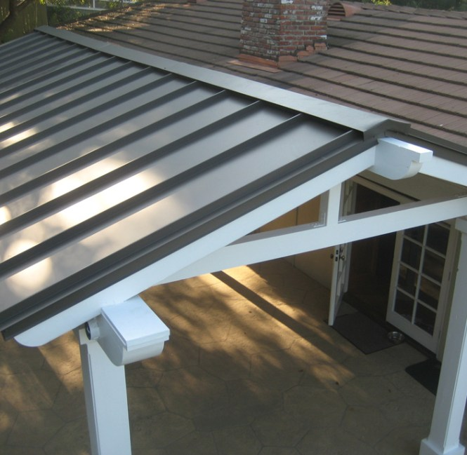 Attached Pergola With Metal Roofing Outdoor Roof - Metal Roofing For Pergola - House Roof