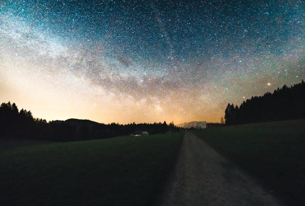 gray road under night sky