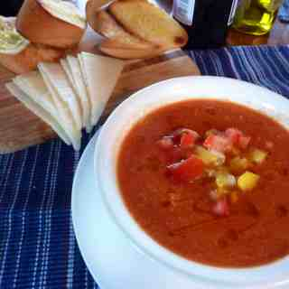 Gazpacho. Perfect for a hot summer day, this cold tomato soup is delicious with good bread and cheese. | joeshealthymeals.com